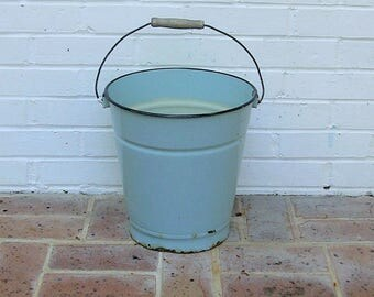 Antique Vintage Enamelware Bucket With Wooden Handle Antique Vintage Enamelware Berry Bucket Milk Pail