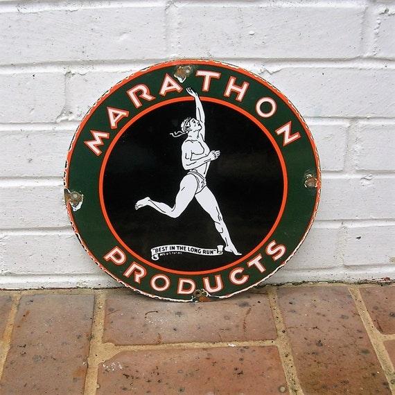 Vintage Porcelain Sign Vintage Marathon Gas Oil Sign Vintage