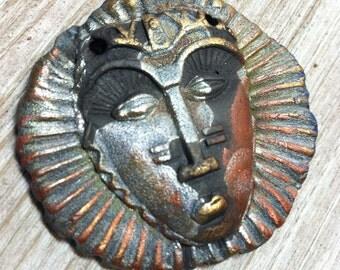 152. Raku African Mask Copper Black Copper Silver Gold Statement Pendant