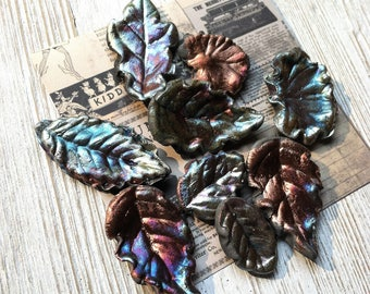 232. Wondrousstrange Raku Nine Summer Midnight Blue Leaf Cabochons/Tiles
