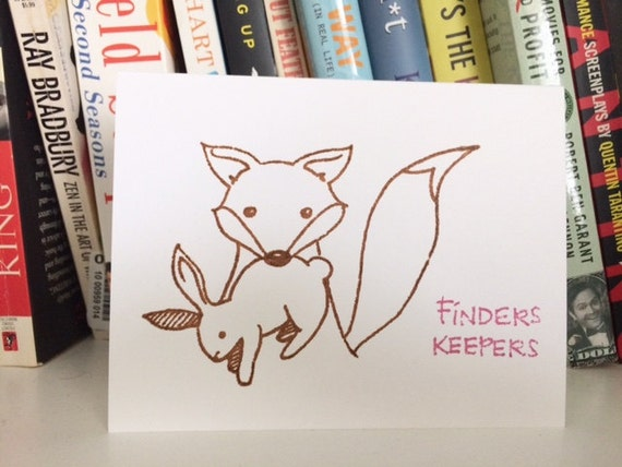 Valentine's Day Card - Finders Keepers - Fox and Rabbit Gocco Love Card from PaperMichelle