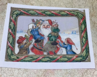 """Santa Claus with tots ~ Fusible Image 2 3/4"""" x 3"""""""