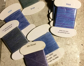 Silk thread, shades of blue, 50% off 25 yards