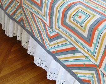 Vintage Squares Quilt, Striped Quilt, Vintage Bedspread, Boy Quilt, Orange Blue Quilt, Twin Bedspread, Twin Quilt, Full Double Quilt