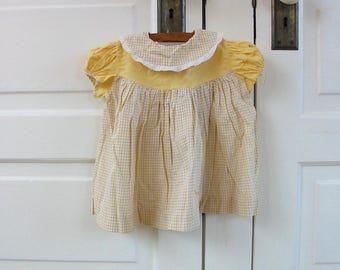 Vintage Yellow Girl Dress, 9-12 month dress, Vintage Easter Dress, Girl Plaid Dress, Yellow Plaid Dress, Vintage Girl Dress, 12 Month Dress