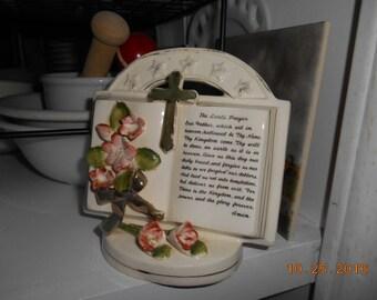 Vintage The Lord's Prayer Porcelain Plaque Figurine