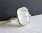 Moonstone Stacking Ring - Size 8.5 - Moonstone Jewelry - 25th Anniversary Gift - Birthday Gift - Alternative June Birthstone