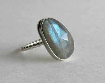 Labradorite Ring - Size 9 Stacking Ring