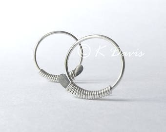 Silver Hoop Earrings, Sterling Silver Wrapped Hammered Open Hoops, Choose your Size