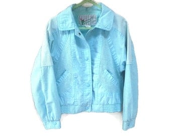 Vintage Kids Jacket, Light Blue Kids 1980s Jacket, Baby Blue Members Only 6 6X Unisex Kids Vintage Coat Girls Boys Vintage 80s Kids Coat