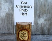 Anniversary Photo Holder of Willow Wood Personalized with Your Names and Date OOAK