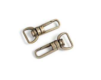 "10pcs - 5/8"" Metal Push Gate Swivel Snap ""Bullet"" Hook - Antique Brass - (METAL HOOK MHK-222) - Free Shipping"