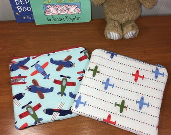 Set of 2 Boys Airplanes Reusable Insulated Snack Bag, Zipper Pouch, Zipper Reusable Snack Pouch, Kids Snack Bag
