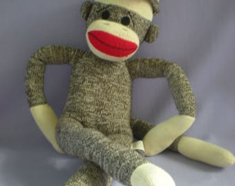 Brown Sock Monkey-Baby Toy-Iconic Monkey Toy-Baby Gift