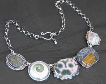 labradorite, ocean jasper, shell, carved fluorite and sterling silver metalwork necklace