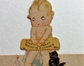 Vintage Place Cards Adorable Naked Little Boy with Ouija Board Cat and Candle c 1930s NOS unused