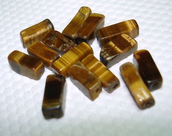 Tiger Eye Rectangle Gemstone Beads (Qty 14) - B3325