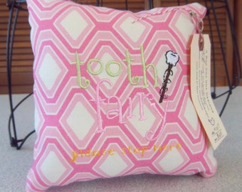 1037  Pink and White Tooth Fairy Pillow