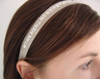 Silver Grey Velvet Headband, Bridesmaid Headband, Beaded Ribbon Hairband, Elasticated Headband, Retro Headband, Headbands For Women, Prom