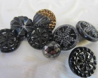 Vintage Buttons - lot of 8 jet black, pressed assorted designs Victorian,  (jan 132-17)