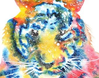 Tiger Face Spirit Animal ORIGINAL Watercolor 9X12