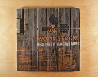 Woodstock Two music album wood coasters with warped vinyl bowl from recycled record album