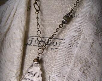 Beaded Gypsy Necklace Antique Chandelier Crystal Necklace Antique Sheet Music Necklace Vintage Gypsy Jewelry Boho Necklace  Gypsy Style