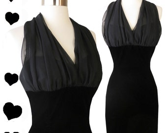 Vintage 80s 90s Dress // Black Chiffon Halter Velvet Party Cocktail Dress XS 1980s Prom Dance Mini Sweetheart Neckline Diva Bombshell Glam