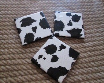 Coaster Set (3) Cow Theme Black White Non Slip Bottom Country Beer Wine Mug Coffee Gift Christmas Moooo