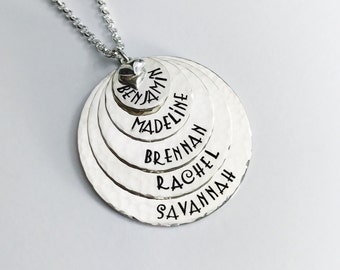 5 Stack -- Five Disc Hand Stamped Sterling Silver Name Tag Necklace - Mom Necklace