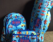 Boys  Nap Mat Backpack Lunch box set of 3 School Daycare Preschool Kindergarten Toddler Free Personalized