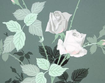 1940s Vintage Wallpaper Large White and Pink Cottage Roses on Green by the Yard
