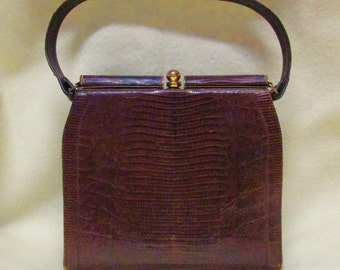 Vintage 50s Alligator belly handbag