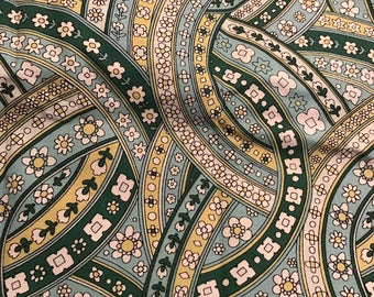 Green, Turquoise, Yellow, and White Curvy Floral Quilting Cotton Fabric, Half Yard