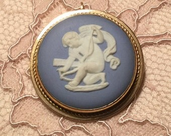 Vintage Van Dell Gold Fill Wedgewood Cupid Pendant/Pin 1950s