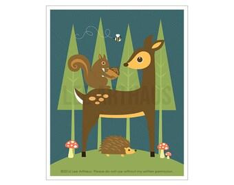60A Deer Nursery Print - Squirrel Deer and Bee Wall Art - Deer Print - Squirrel Print - Deer Decor - Deer Wall Art - Woodland Animals