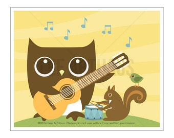 122A Owl Nursery Print - Owl and Squirrel Playing Music Wall Art - Guitar Art - Owl Print - Owl Wall Art - Guitar Print - Music Wall Art
