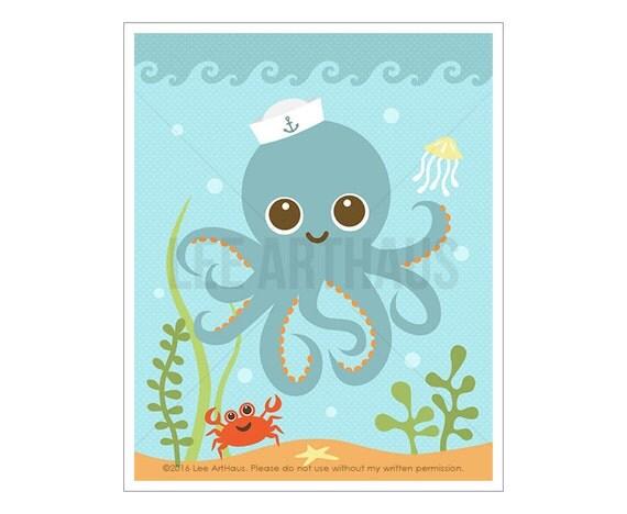69A Octopus Print - Octopus in Ocean Wall Art - Nautical Nursery Wall Art - Baby Boy Nursery Print - Art for Kids - Art for Children