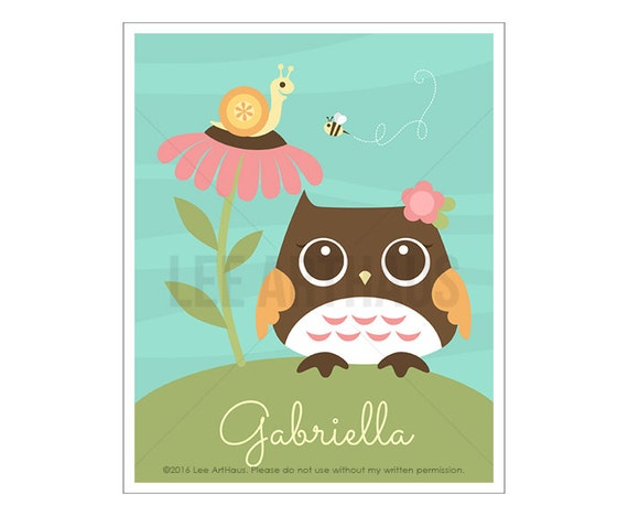 126P Girl Nursery Art - Personalized Owl Looking at Snail Wall Art - Personalized Girl Name Print - Custom Name Baby Girl Nursery Wall Art