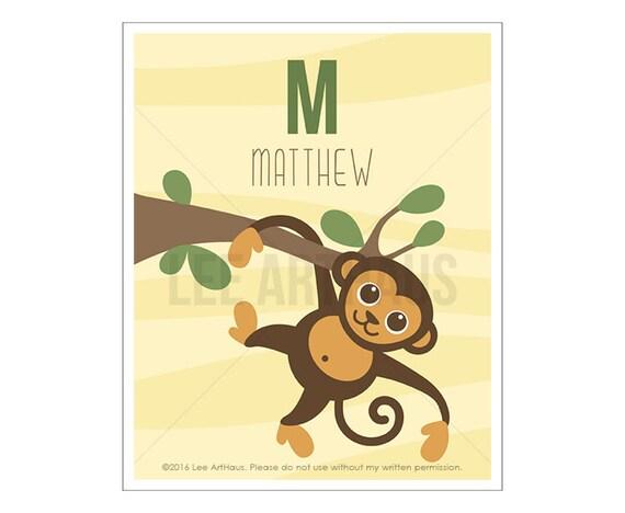 135P Monkey Print - Personalized Letter M Monkey Wall Art - Monkey Drawing - Jungle Nursery - Baby Boy Zoo Wall Art - Customized Boy Gift
