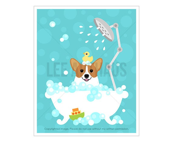 120D Welsh Corgi Print - Corgi Dog in Bubble Bath Wall Art - Bathroom Art - Corgi Art - Bath Decor - Dog Drawing - Dog Wall Art - Dog Theme