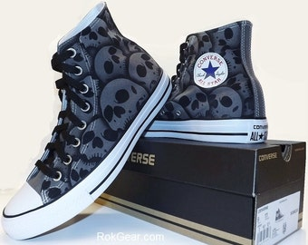 Canvas Converse All Star high top mens skull shoes