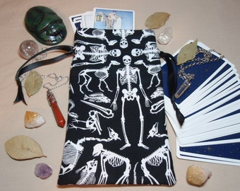 We're All Bones - Lined Cotton Tarot Card Deck Drawstring Pouch