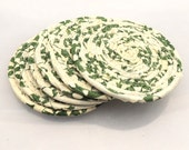 Green and Cream Coasters-- Set of Six