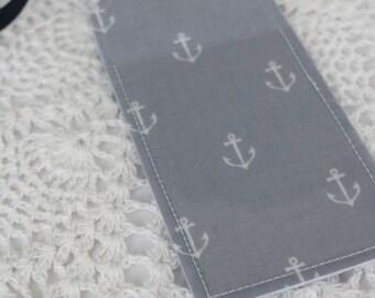 Single Luggage Tag - Anchors Navy and Gray