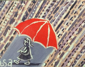 Red Umbrella hand painted notecard