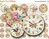 SALE Printable Download VINTAGE CLOCK Collage Digital Images -printable download file- Printable Clock  scrapbook paper