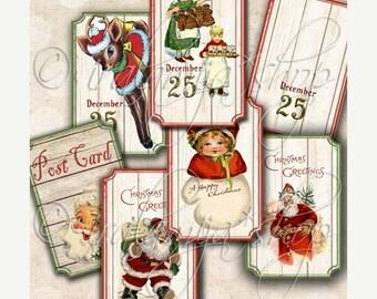 SALE BRIGHT CHRISTMAS TIcKets Collage Digital Images -printable download file Digital Collage Sheet Vintage Paper Scrapbook