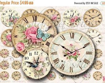 SALE Printable Download VINTAGE CLOCK Collage Digital Images -printable download file- Printable Clock  scrapbook paper