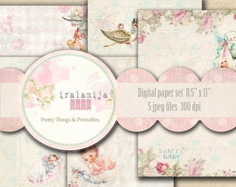 "SALE SWEET BABY Papers  8.5"" x 11"" backgrounds Collage Digital Images -printable download file-"